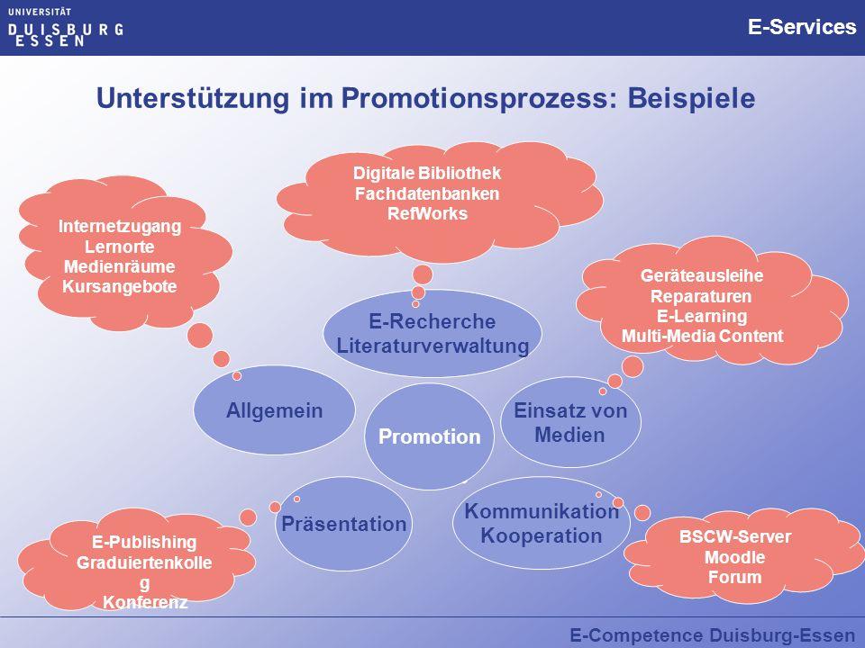 Unterstützung im Promotionsprozess: Beispiele