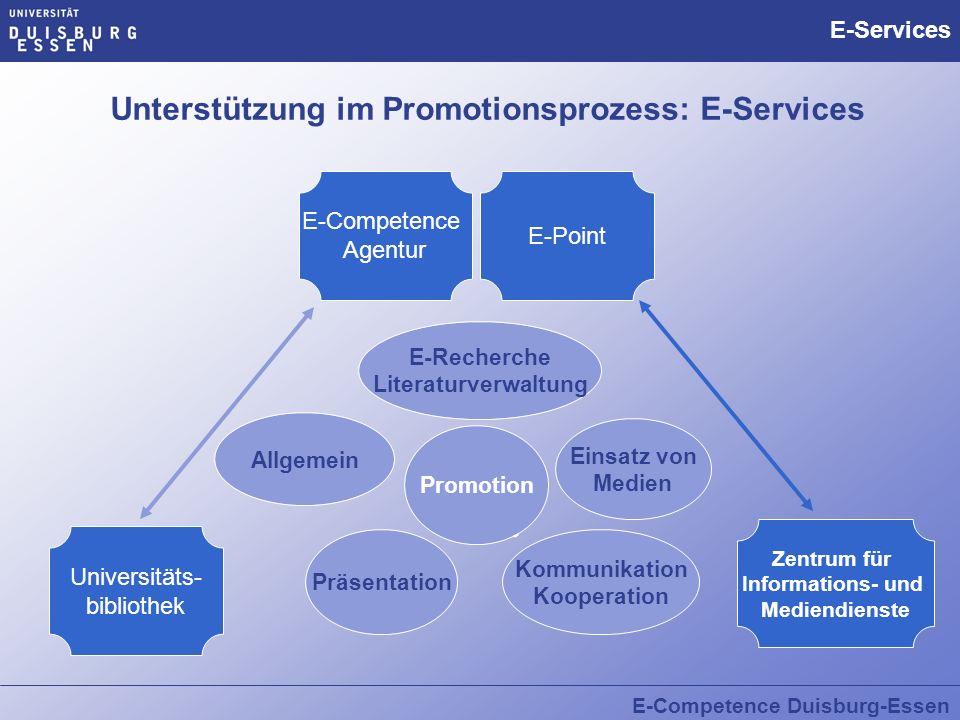 Unterstützung im Promotionsprozess: E-Services