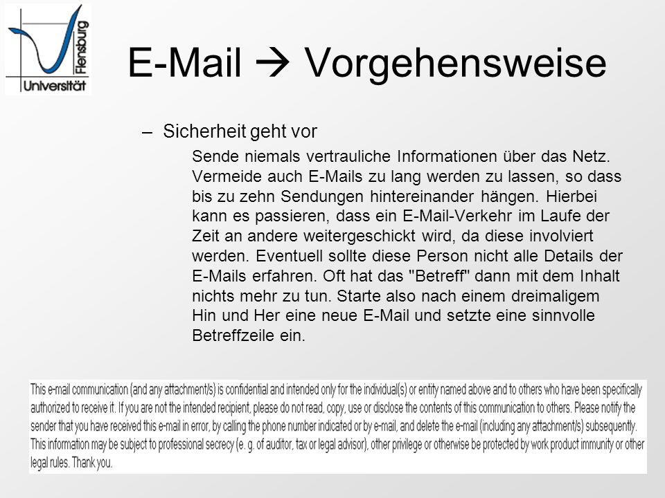 E-Mail  Vorgehensweise