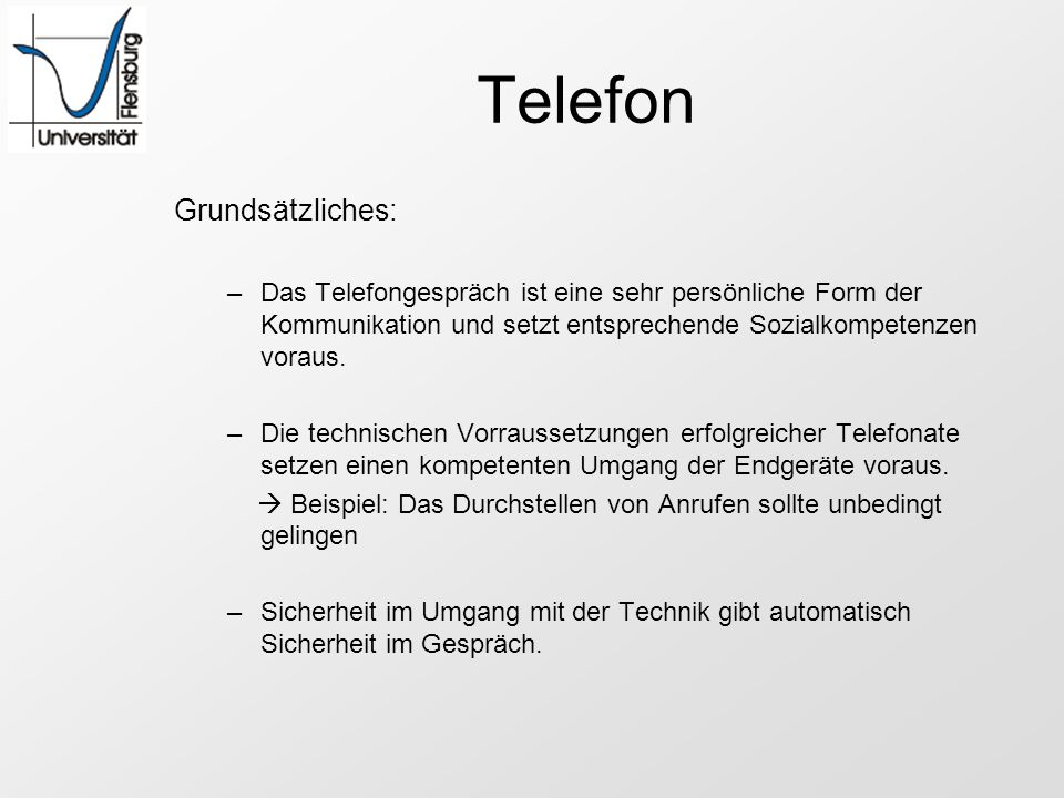 Telefon Grundsätzliches: