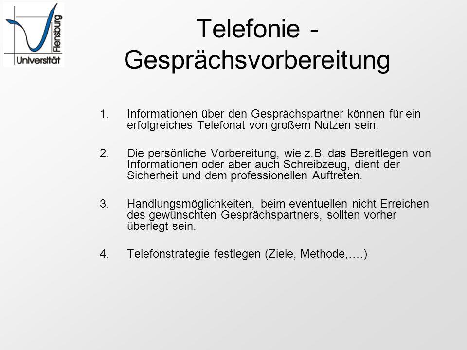 Telefonie - Gesprächsvorbereitung