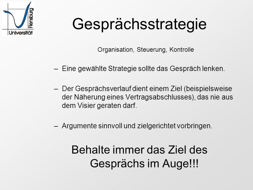 Gesprächsstrategie Behalte immer das Ziel des Gesprächs im Auge!!!