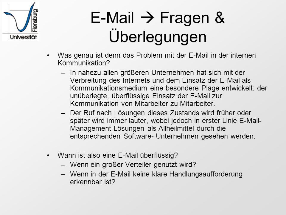 E-Mail  Fragen & Überlegungen