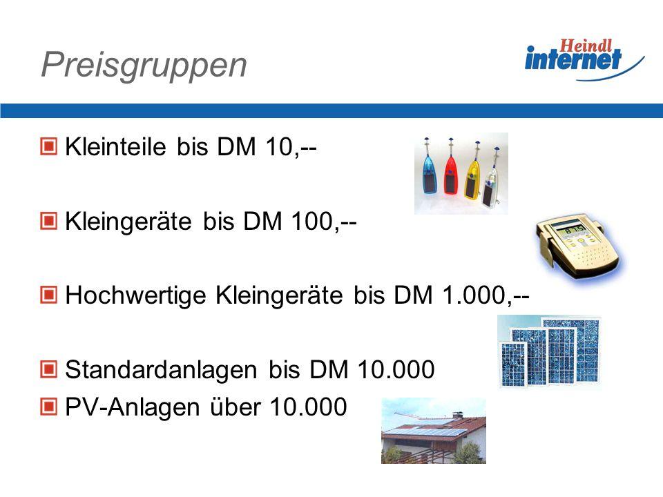 Preisgruppen Kleinteile bis DM 10,-- Kleingeräte bis DM 100,--