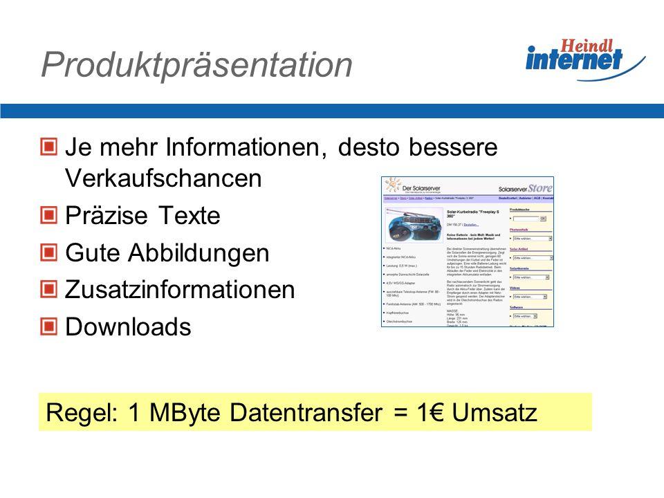 Produktpräsentation Je mehr Informationen, desto bessere Verkaufschancen. Präzise Texte. Gute Abbildungen.