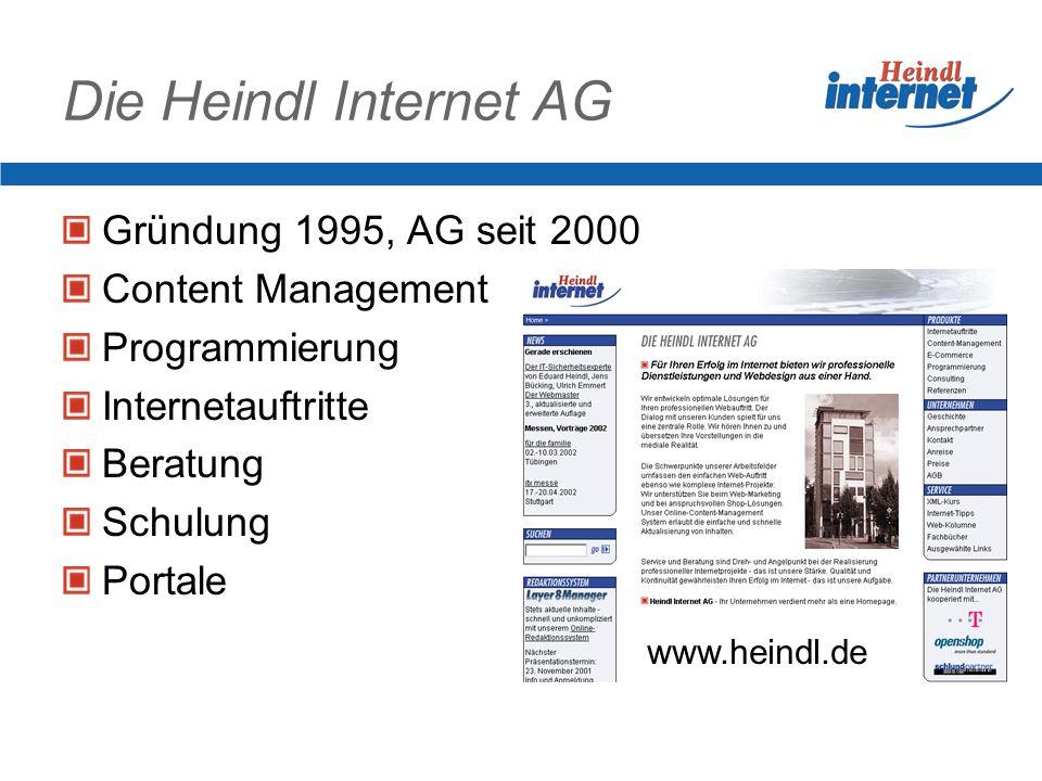 Die Heindl Internet AG Gründung 1995, AG seit 2000 Content Management