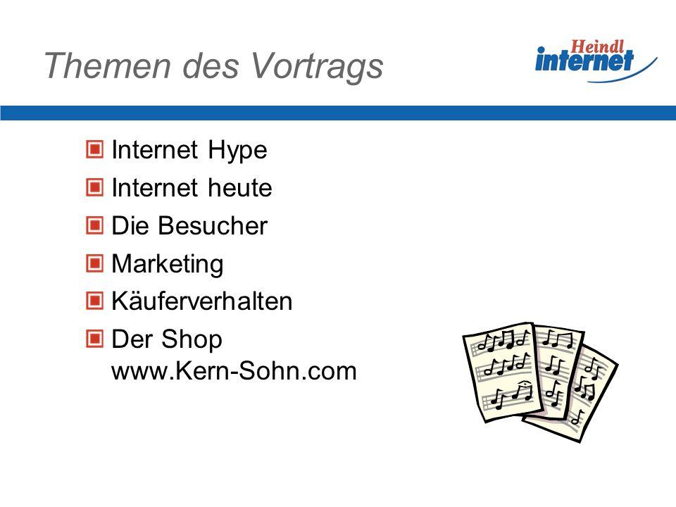 Themen des Vortrags Internet Hype Internet heute Die Besucher