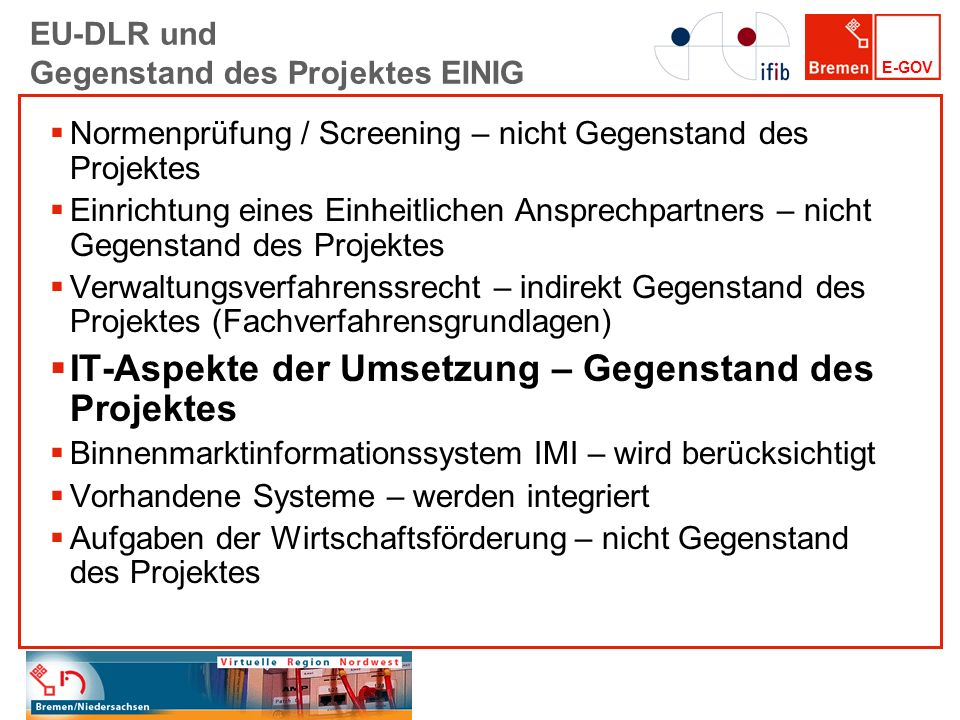 EU-DLR und Gegenstand des Projektes EINIG