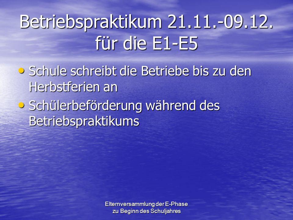 Betriebspraktikum 21.11.-09.12. für die E1-E5