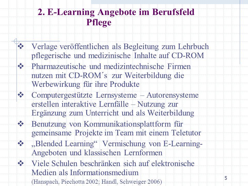 2. E-Learning Angebote im Berufsfeld Pflege