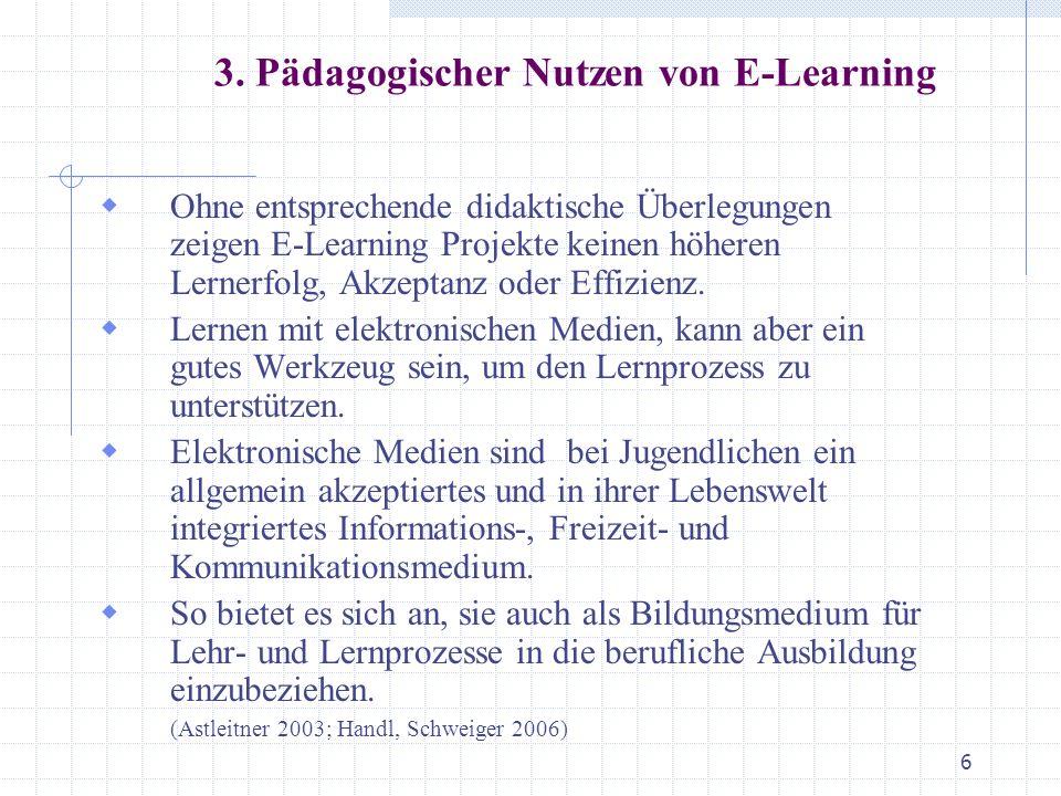 3. Pädagogischer Nutzen von E-Learning