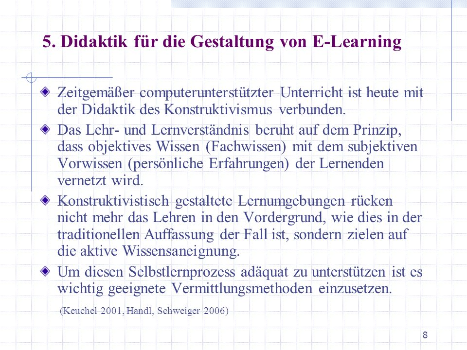 5. Didaktik für die Gestaltung von E-Learning