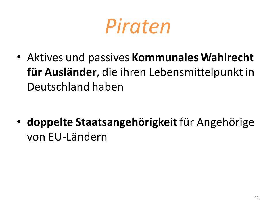 Piraten Aktives und passives Kommunales Wahlrecht für Ausländer, die ihren Lebensmittelpunkt in Deutschland haben.