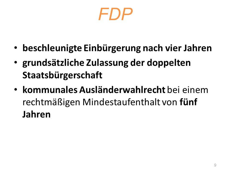 FDP beschleunigte Einbürgerung nach vier Jahren