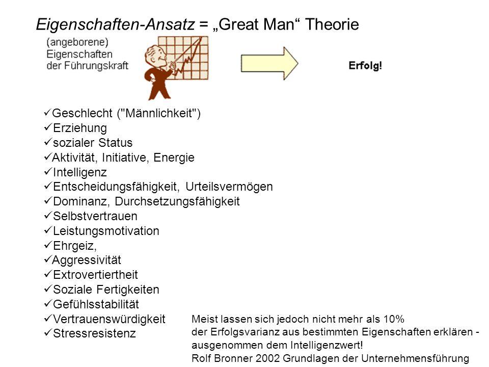 "Eigenschaften-Ansatz = ""Great Man Theorie"