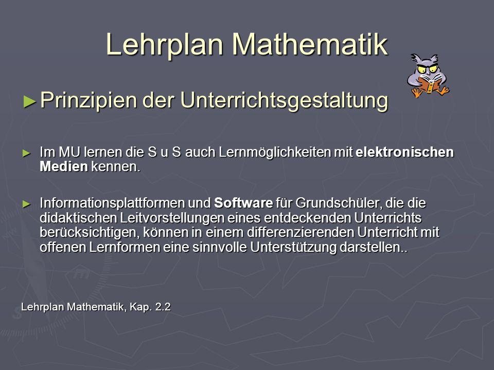Lehrplan Mathematik Prinzipien der Unterrichtsgestaltung