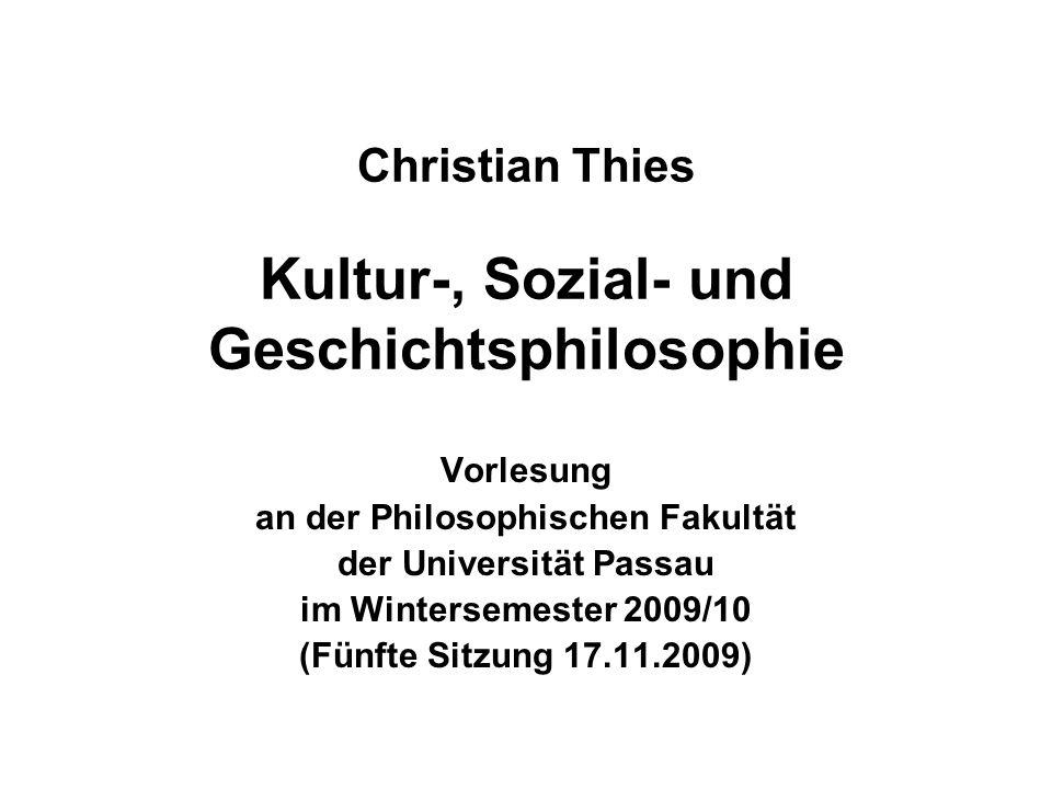 Christian Thies Kultur-, Sozial- und Geschichtsphilosophie