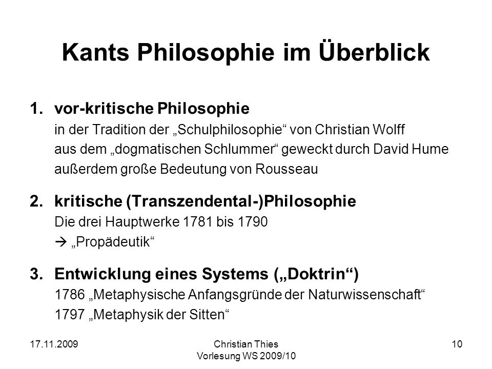 Kants Philosophie im Überblick