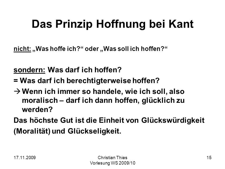 Das Prinzip Hoffnung bei Kant