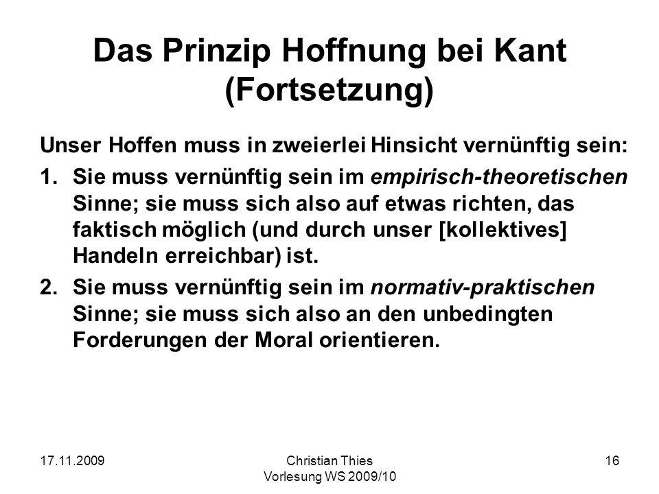Das Prinzip Hoffnung bei Kant (Fortsetzung)