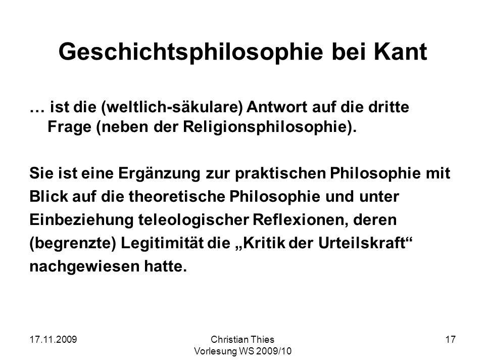 Geschichtsphilosophie bei Kant