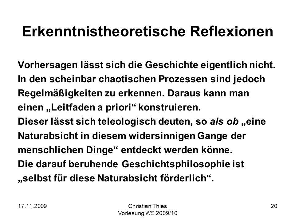 Erkenntnistheoretische Reflexionen