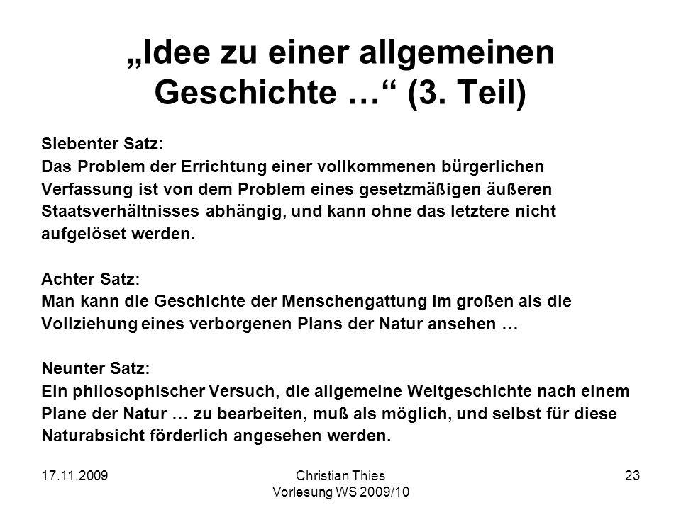 """""""Idee zu einer allgemeinen Geschichte … (3. Teil)"""