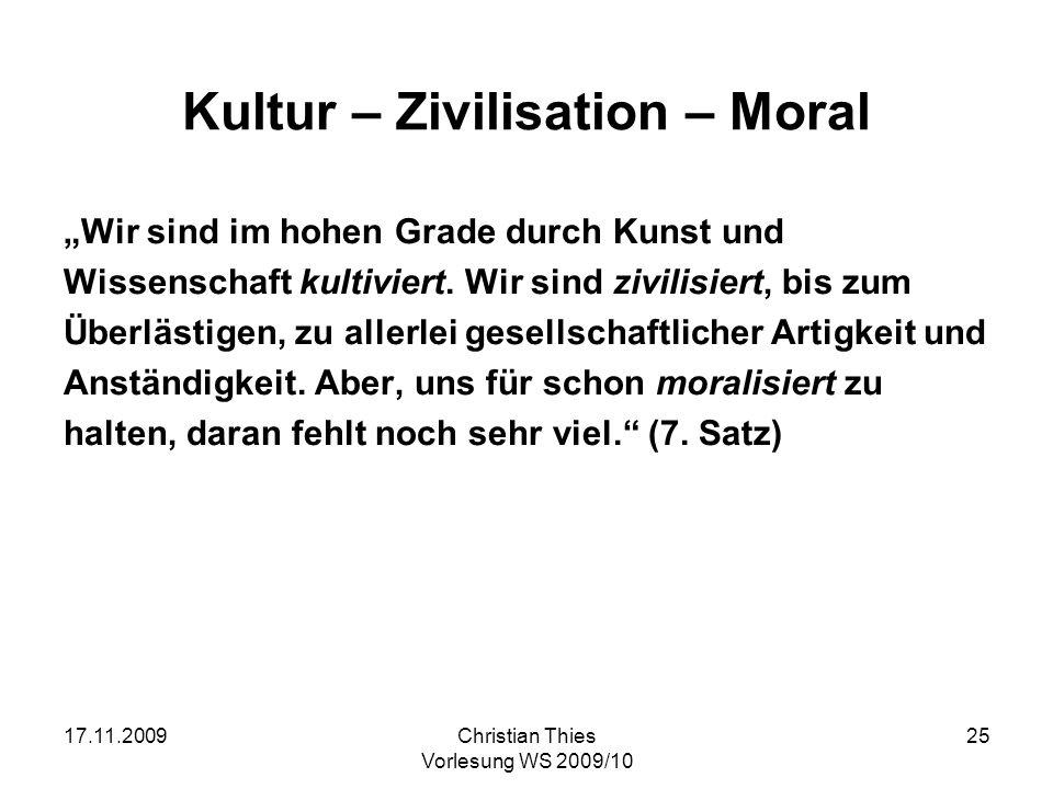 Kultur – Zivilisation – Moral