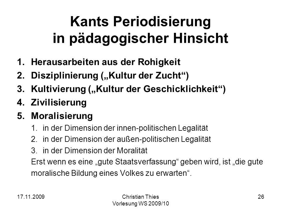 Kants Periodisierung in pädagogischer Hinsicht