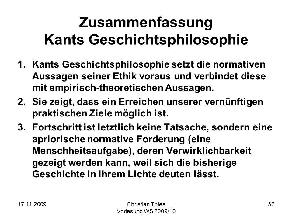 Zusammenfassung Kants Geschichtsphilosophie