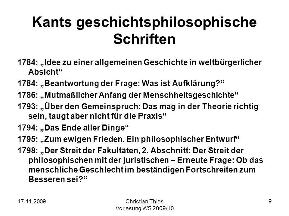 Kants geschichtsphilosophische Schriften