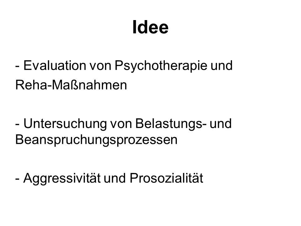 Idee Evaluation von Psychotherapie und Reha-Maßnahmen