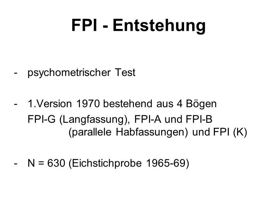 FPI - Entstehung - psychometrischer Test
