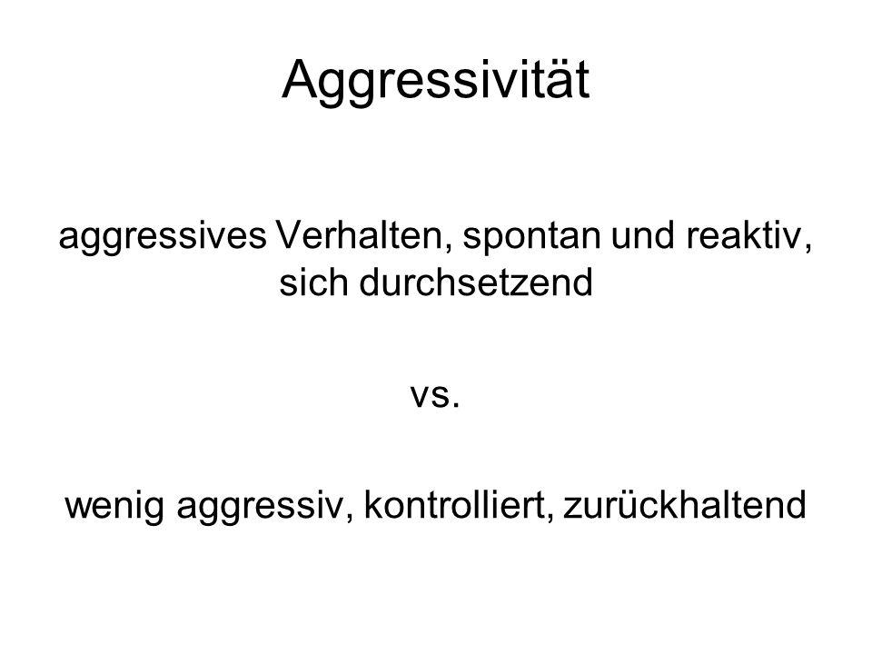 Aggressivität aggressives Verhalten, spontan und reaktiv, sich durchsetzend.