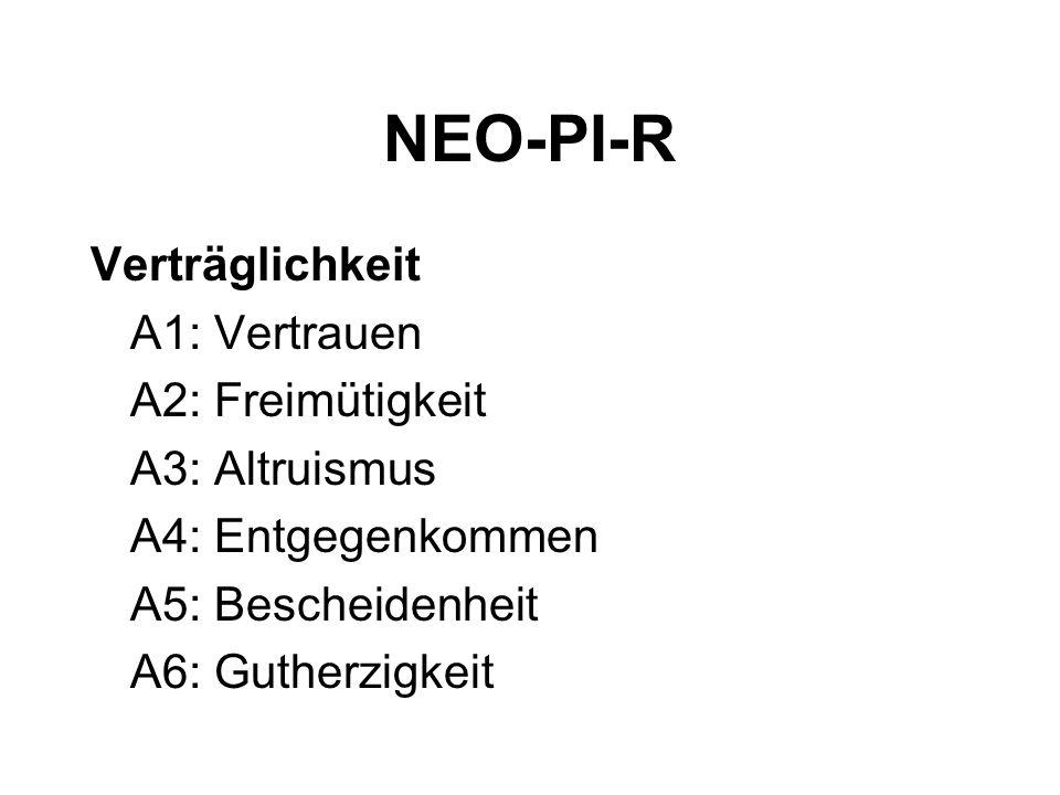 NEO-PI-R Verträglichkeit A1: Vertrauen A2: Freimütigkeit