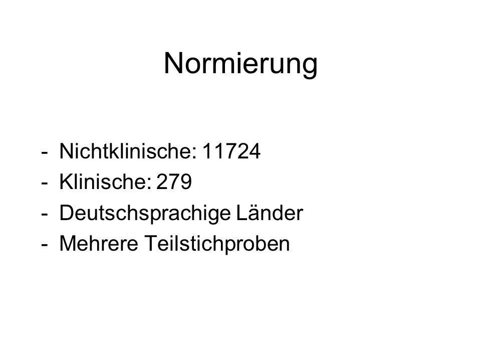 Normierung Nichtklinische: 11724 Klinische: 279