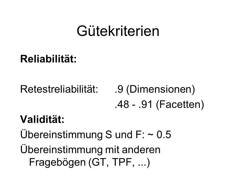 Gütekriterien Reliabilität: Retestreliabilität: .9 (Dimensionen)