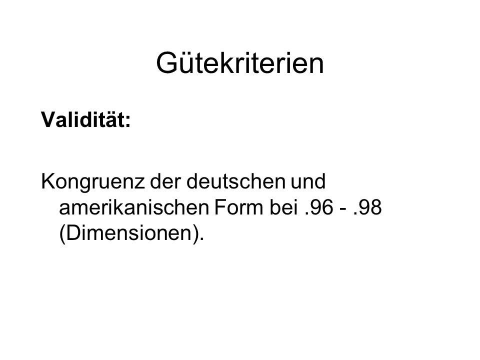 Gütekriterien Validität: