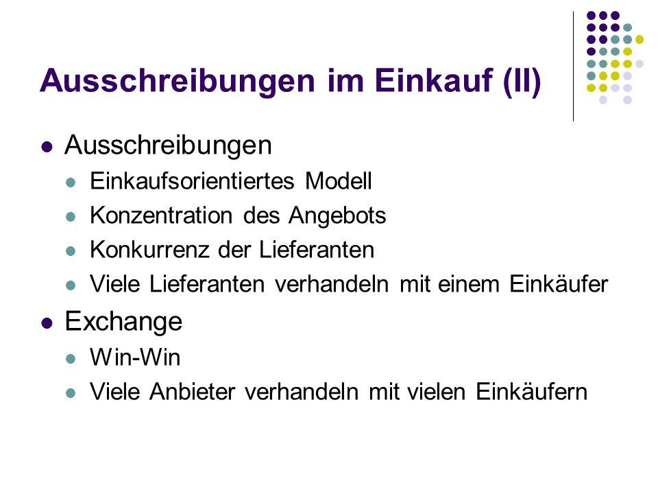 Ausschreibungen im Einkauf (II)