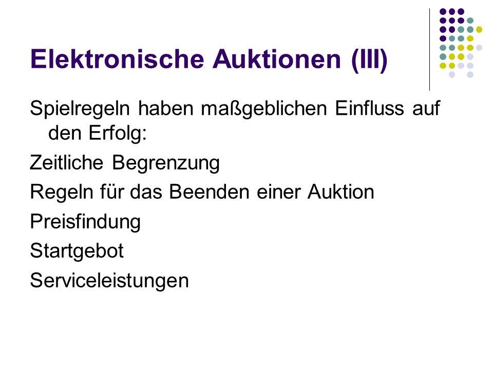 Elektronische Auktionen (III)