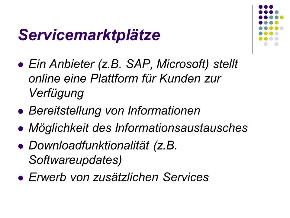 Servicemarktplätze Ein Anbieter (z.B. SAP, Microsoft) stellt online eine Plattform für Kunden zur Verfügung.