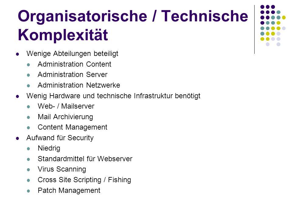 Organisatorische / Technische Komplexität