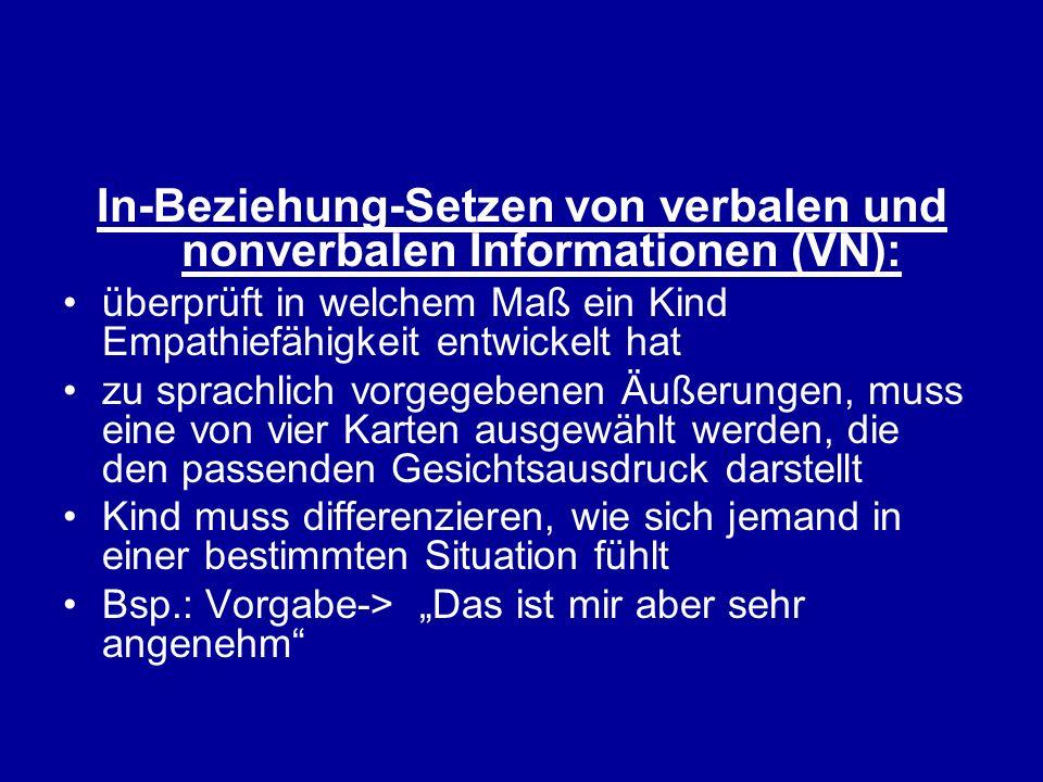 In-Beziehung-Setzen von verbalen und nonverbalen Informationen (VN):
