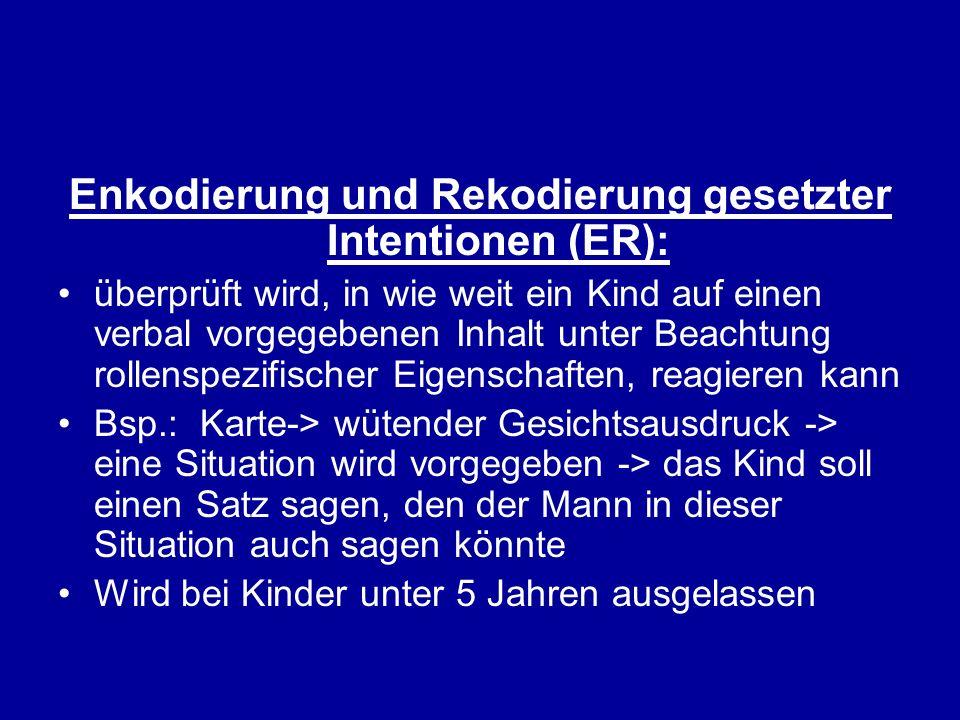 Enkodierung und Rekodierung gesetzter Intentionen (ER):
