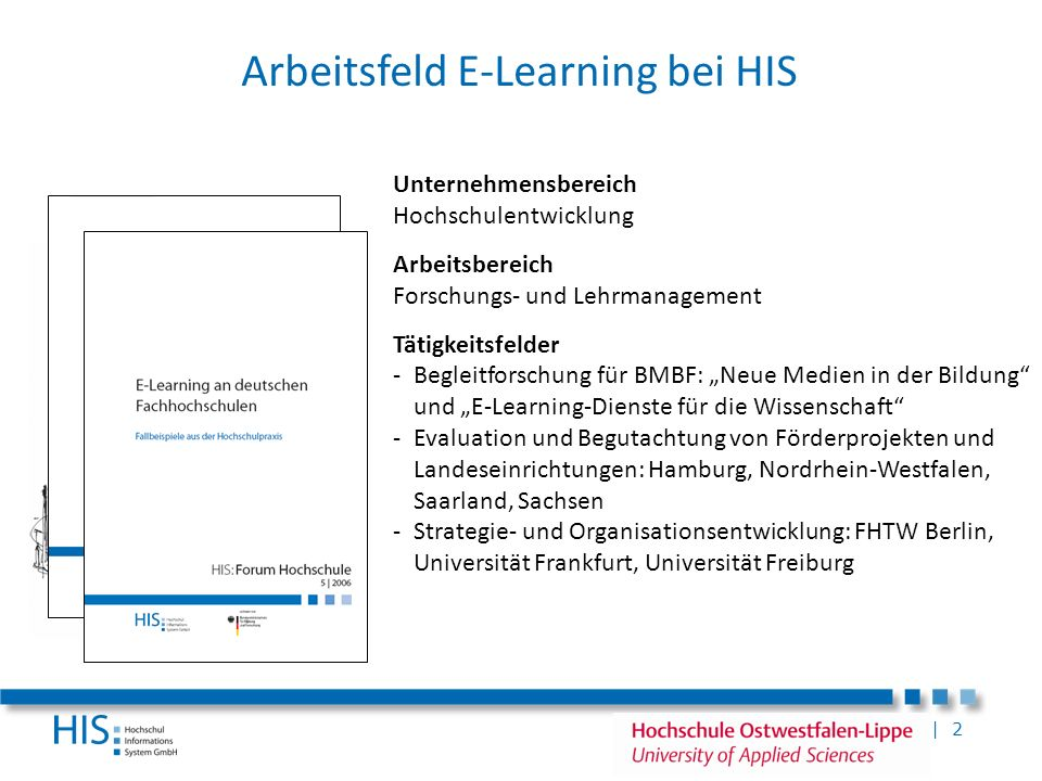 Arbeitsfeld E-Learning bei HIS