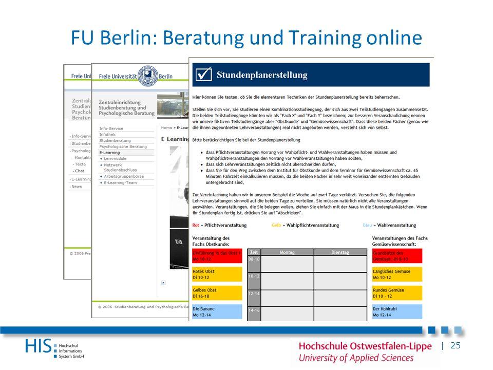 FU Berlin: Beratung und Training online