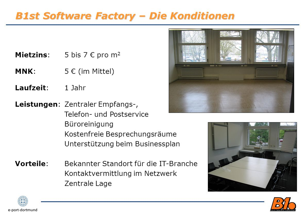 B1st Software Factory – Die Konditionen