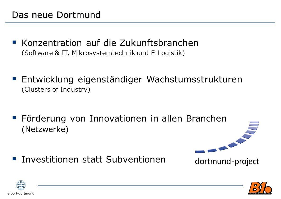 Das neue Dortmund Konzentration auf die Zukunftsbranchen (Software & IT, Mikrosystemtechnik und E-Logistik)