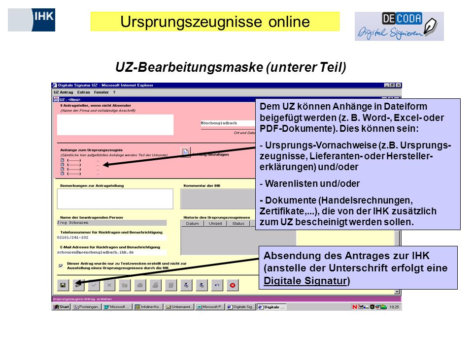 UZ-Bearbeitungsmaske (unterer Teil)