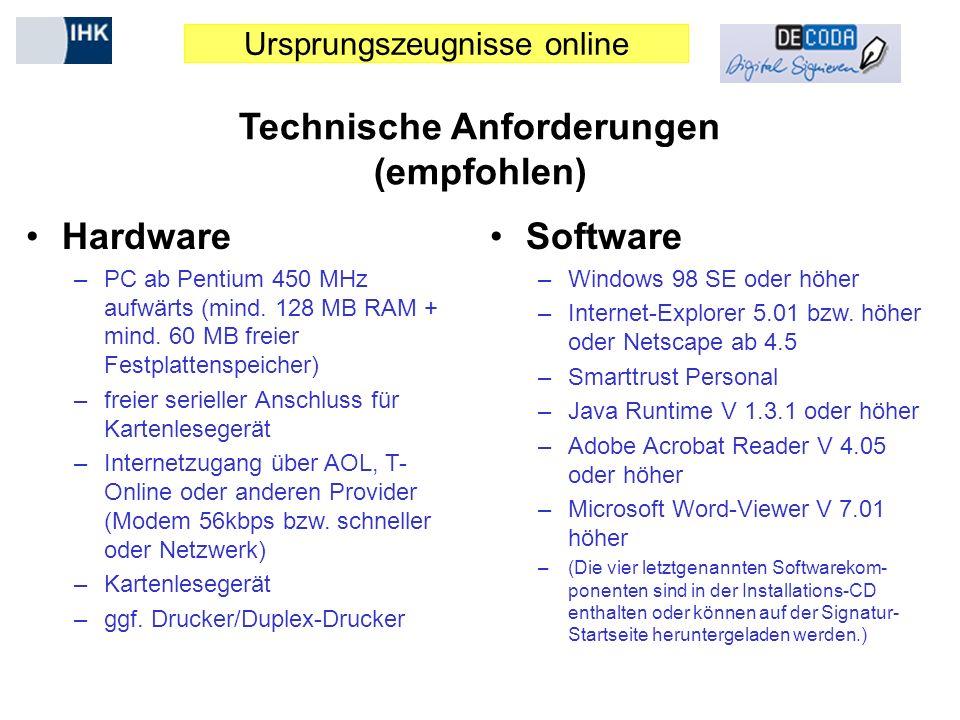 Technische Anforderungen (empfohlen)